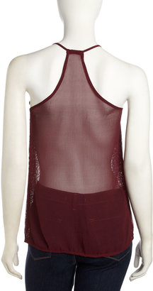 Romeo & Juliet Couture Sequined Racerback Tank, Burgundy