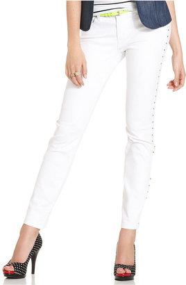 XOXO Juniors Jeans, Skinny Studded White Wash