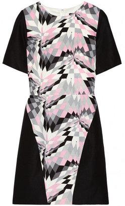 Tibi Printed silk and linen-blend dress