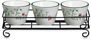 Pfaltzgraff Winterberry Dip Bowls with Wire Rack (Set of 3)