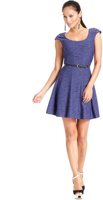 GUESS Dress, Cap-Sleeve Belted Stud A-Line
