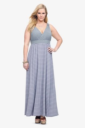 Grey & Purple Striped Surplice Maxi Dress