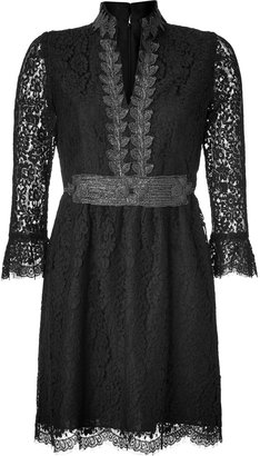 Anna Sui Black Embroidered Botanic Lace Dress