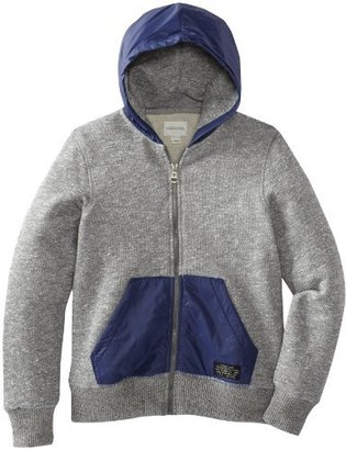 Diesel Boys 8-20 Sipery Grey Melange Fleece Zip Hoodie with Nylon Details