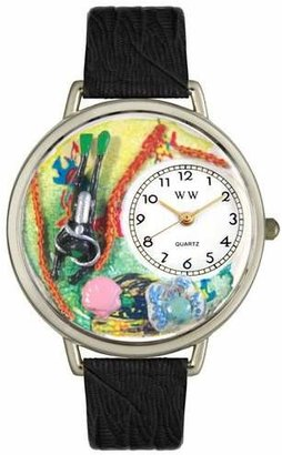 Whimsical Watches Unisex U0810016 Scuba Diving Black Skin Leather Watch