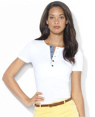 Lauren Ralph Lauren Top, Short-Sleeve Cotton Henley