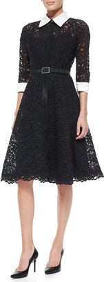 Rickie Freeman For Teri Jon 3/4-Sleeve Lace Cocktail Shirtdress with Embellished Buckle Belt