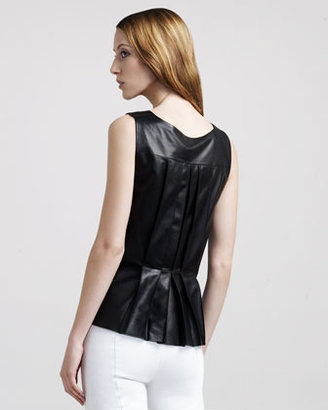 The Row Back-Pleat Leather Top