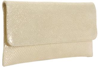 Carlos Falchi Studio gold snake print leather flat clutch