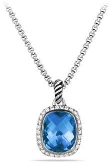 David Yurman Noblesse Pendant with Blue Topaz and Diamonds on Chain