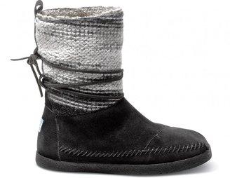 Toms Black wool stripe women's nepal boots