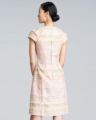 Lela Rose Cap-Sleeve Boucle Dress