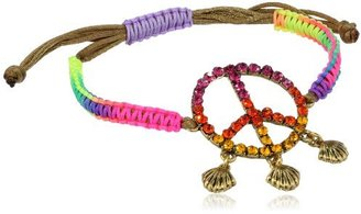 "Betsey Johnson St. Barts"" Crystal Peace Sign Macrame Friendship Bracelet, 10.5"""