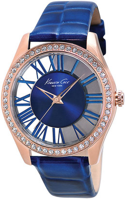 Kenneth Cole NEW YORK Ladies Rose Gold-Tone Crystal & Leather Watch