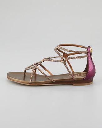 Rene Caovilla Crystallized Flat Thong Sandal, Gold/Purple