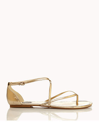 Forever 21 Metallic Strappy Thong Sandals
