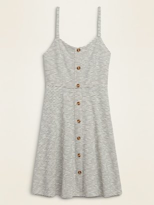 Old Navy Striped Slub-Knit Button-Front Cami Fit & Flare Dress for Women