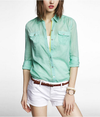 Express Contrast Piping Easy Fit Cotton Shirt