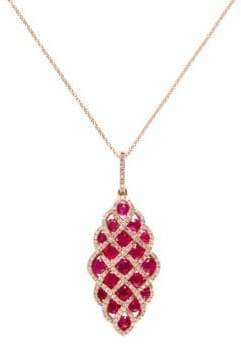 Effy 14K Rose Gold Diamond and Natural Ruby Pendant