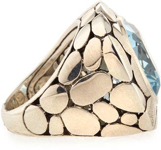 John Hardy Silver Batu Kali Blue Topaz Large Square Ring, Size 6