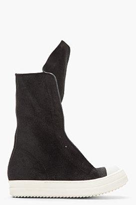 Rick Owens Black Brushed Laceless Basket Boots