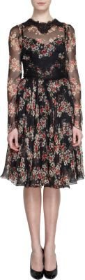 Dolce & Gabbana Lace Trimmed Floral Print Long Sleeve Dress