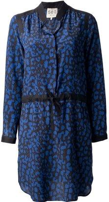 Sea leopard print drawstring dress