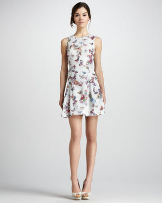 Phoebe Couture Butterfly-Print Sleeveless Dress