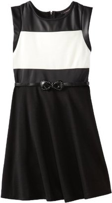 My Michelle Girls 7-16 Colorblocked Bodice Dress with Pleather Cap Sleeve