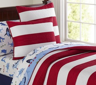 Pottery Barn Kids Rugby Stripe Quilted Bedding