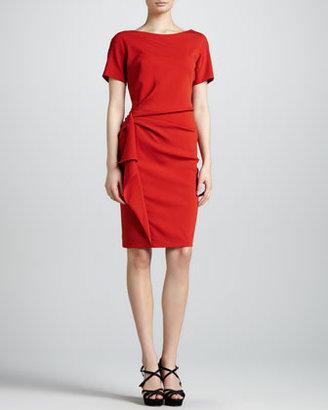 Escada Gathered Wool Crepe Dress, Red