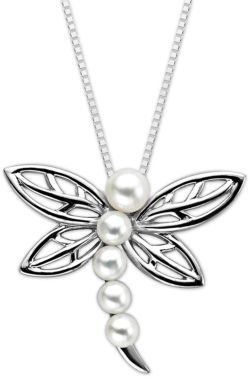 Lord & Taylor Sterling Silver Fresh Water Pearl Dragonfly Pendant