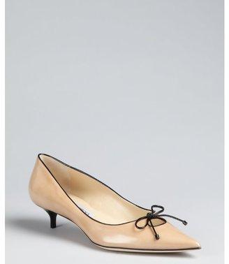 Jimmy Choo brown sugar patent leather pointed toe 'Ohia' kitten heels
