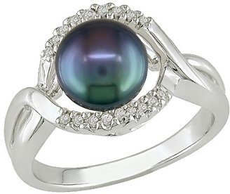 Black Freshwater Pearl Ring with 0.06 CT. T.D.W. Diamonds in Sterling Silver