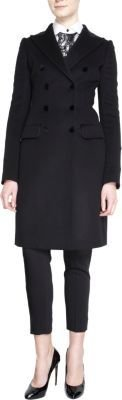 Dolce & Gabbana Velvet Trimmed Double Breasted Fitted Coat