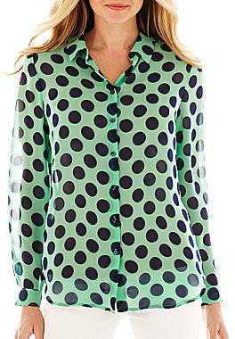 Liz Claiborne Long-Sleeve Button-Front Dot Blouse - Tall
