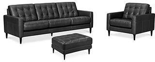 Carla Leather Living Room Furniture, 3 Piece Sofa Set (Sofa, Chair & Ottoman)