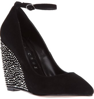 Lola Cruz embellished wedge pump