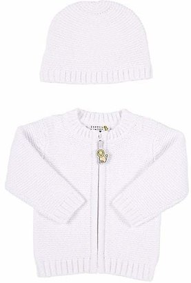 Barneys New York Infants' Thermal-Stitched Cardigan & Hat - White
