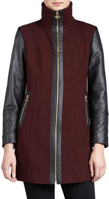 MICHAEL Michael Kors Faux-Leather-Sleeve Felt Coat
