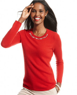 Charter Club Sweater, Long-Sleeve Beaded Crew-Neck