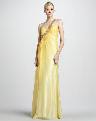La Femme Boutique Beaded-Strap One-Shoulder Gown