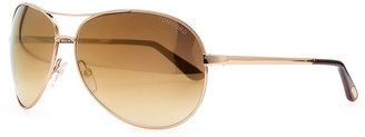 Tom Ford Charles Metal Aviator Sunglasses, Rose Golden