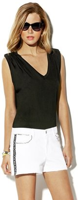 Vince Camuto V Neck Tee with Gathered Sleeves
