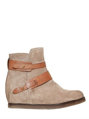 Manas Design 50mm Belted Suede Ankle Boots