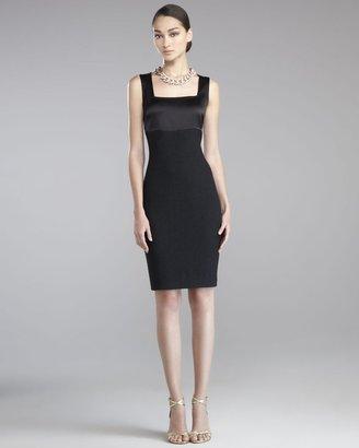 St. John Shimmer Boucle Satin Dress, Caviar