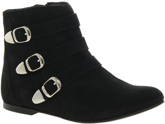 London Rebel Loretta Leather Flat Boot with Buckles
