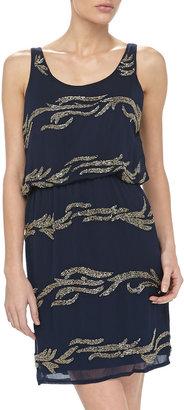 Romeo & Juliet Couture Beaded Sheath Dress, Navy