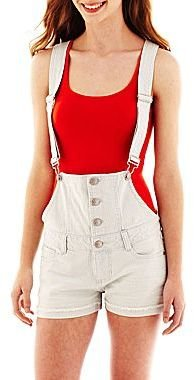 JCPenney Blue Spice Stripe Overall Shorts
