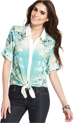 Amy Byer Top, Three-Quarter-Sleeve Floral-Print Tie-Front